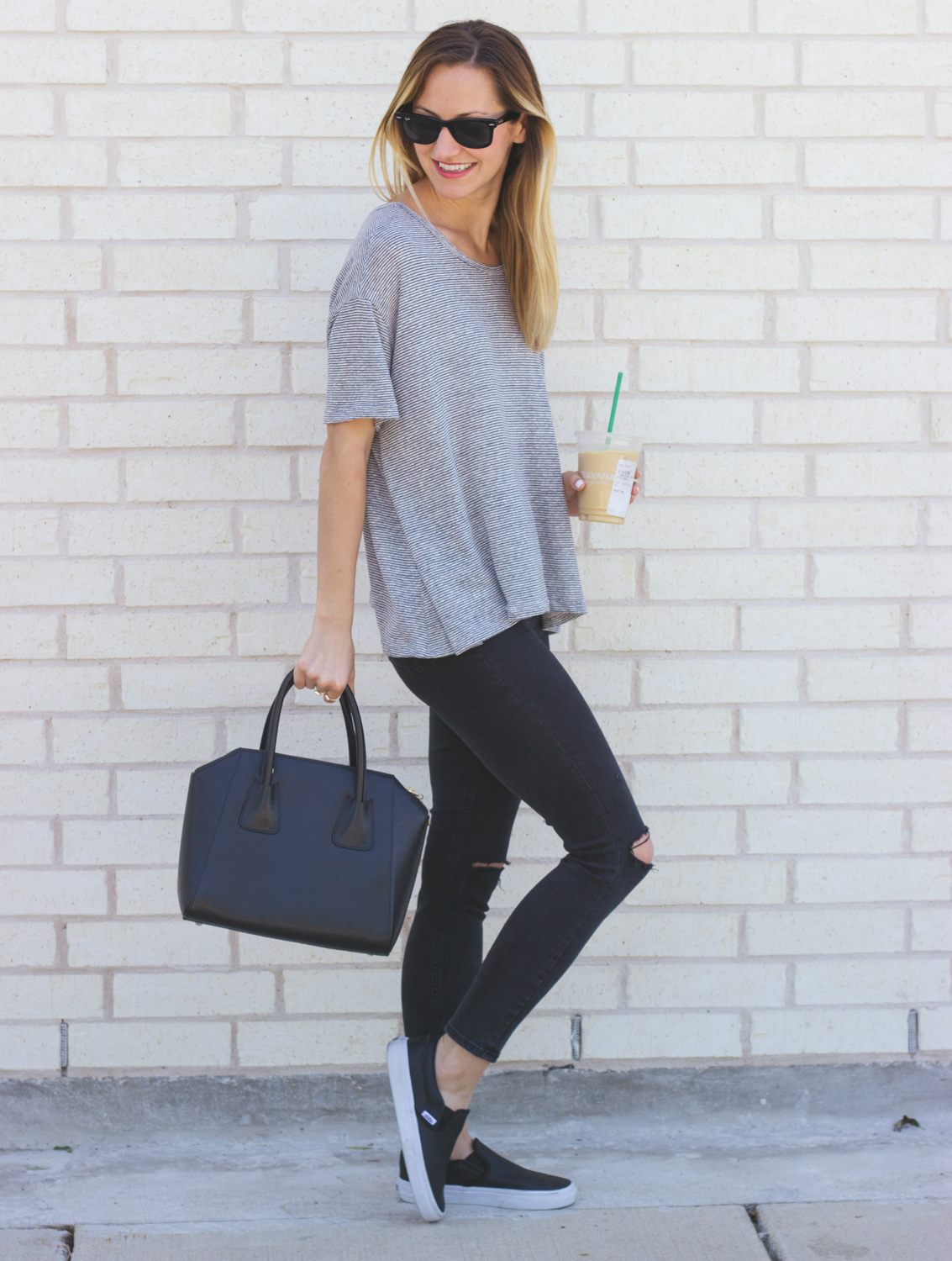 livvyland-blog-olivia-watson-austin-texas-fashion-blogger-iced-coffee-trendy-hipster-striped-shirt-vans-black-slip-on-leather-sneakers-summer-spring-outfit-casual-topshop-jamie-black-jeans-4