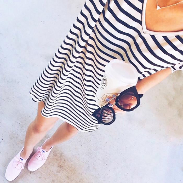 livvyland-blog-olivia-watson-austin-texas-fashion-blogger-ily-couture-striped-dress-black-dior-sunglasses-pink-sneaker-keds-kendra-scott-pendant-necklace