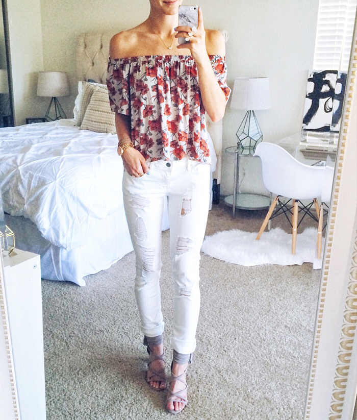 livvyland-blog-olivia-watson-austin-texas-fashion-blogger-ruffle-floral-off-shoulder-top-white-distressed-skinny-jeans-vigoss-selfie-spring-summer-outfit