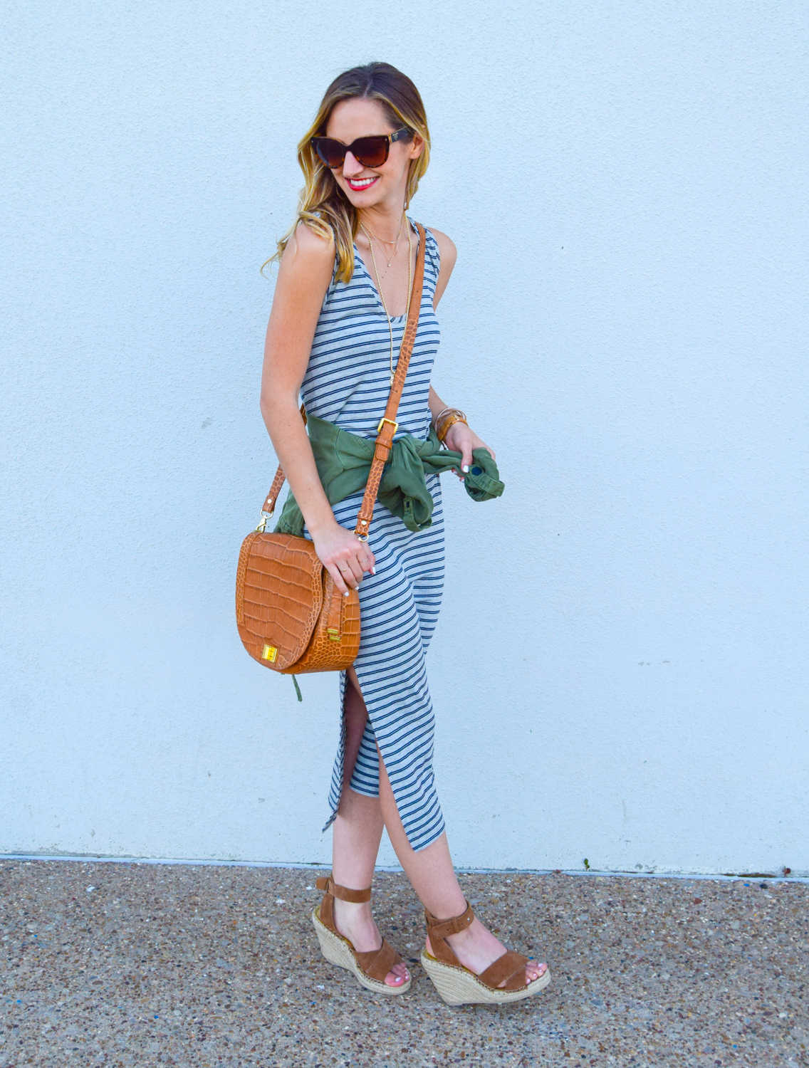 livvyland-blog-olivia-watson-austin-texas-fashion-blogger-striped-midi-dress-green-utility-jacket-brahmin-sonny-crossbody-handbag-prada-cat-eye-sunglasses-casual-outfit-11