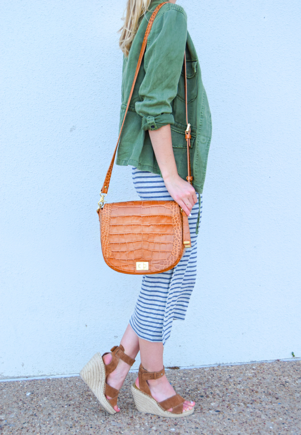 livvyland-blog-olivia-watson-austin-texas-fashion-blogger-striped-midi-dress-green-utility-jacket-brahmin-sonny-crossbody-handbag-prada-cat-eye-sunglasses-casual-outfit-2