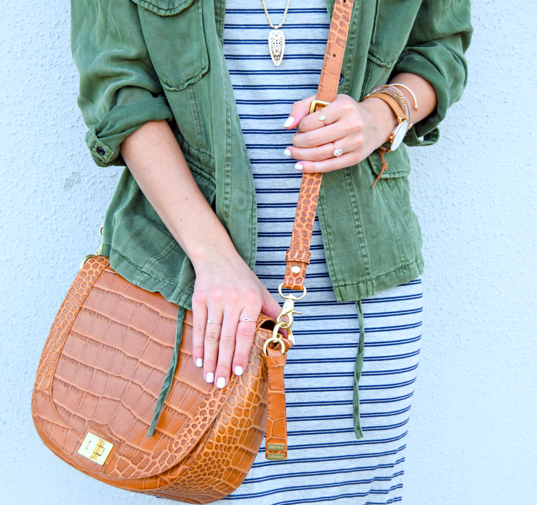 livvyland-blog-olivia-watson-austin-texas-fashion-blogger-striped-midi-dress-green-utility-jacket-brahmin-sonny-crossbody-handbag-prada-cat-eye-sunglasses-casual-outfit-3
