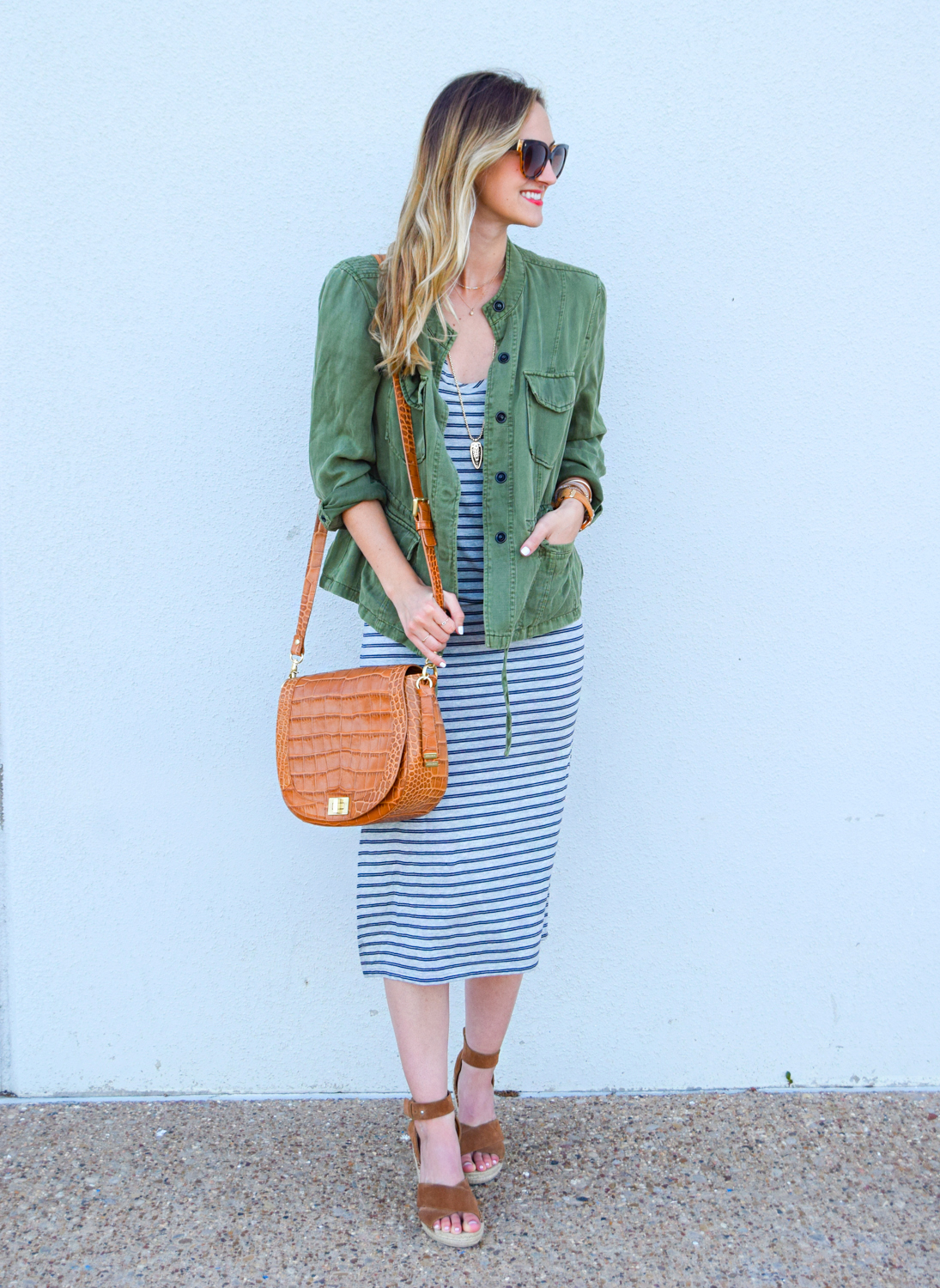 livvyland-blog-olivia-watson-austin-texas-fashion-blogger-striped-midi-dress-green-utility-jacket-brahmin-sonny-crossbody-handbag-prada-cat-eye-sunglasses-casual-outfit-4
