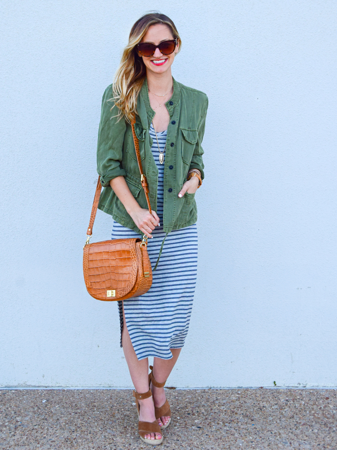 livvyland-blog-olivia-watson-austin-texas-fashion-blogger-striped-midi-dress-green-utility-jacket-brahmin-sonny-crossbody-handbag-prada-cat-eye-sunglasses-casual-outfit-5