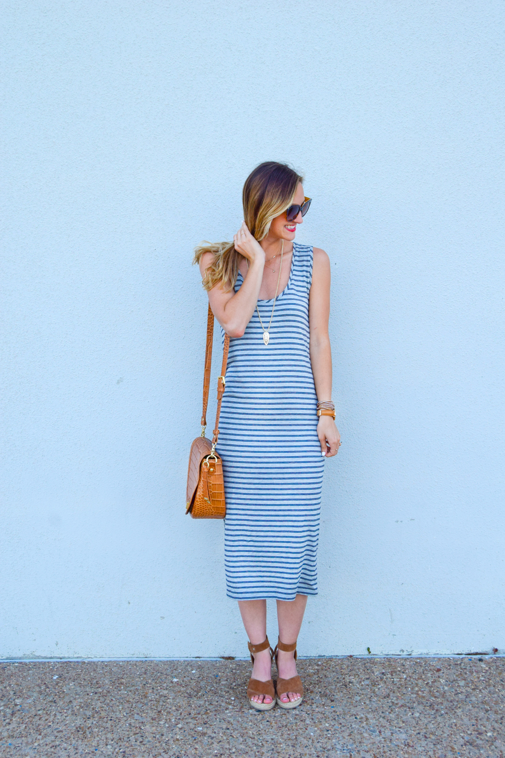 livvyland-blog-olivia-watson-austin-texas-fashion-blogger-striped-midi-dress-green-utility-jacket-brahmin-sonny-crossbody-handbag-prada-cat-eye-sunglasses-casual-outfit-8