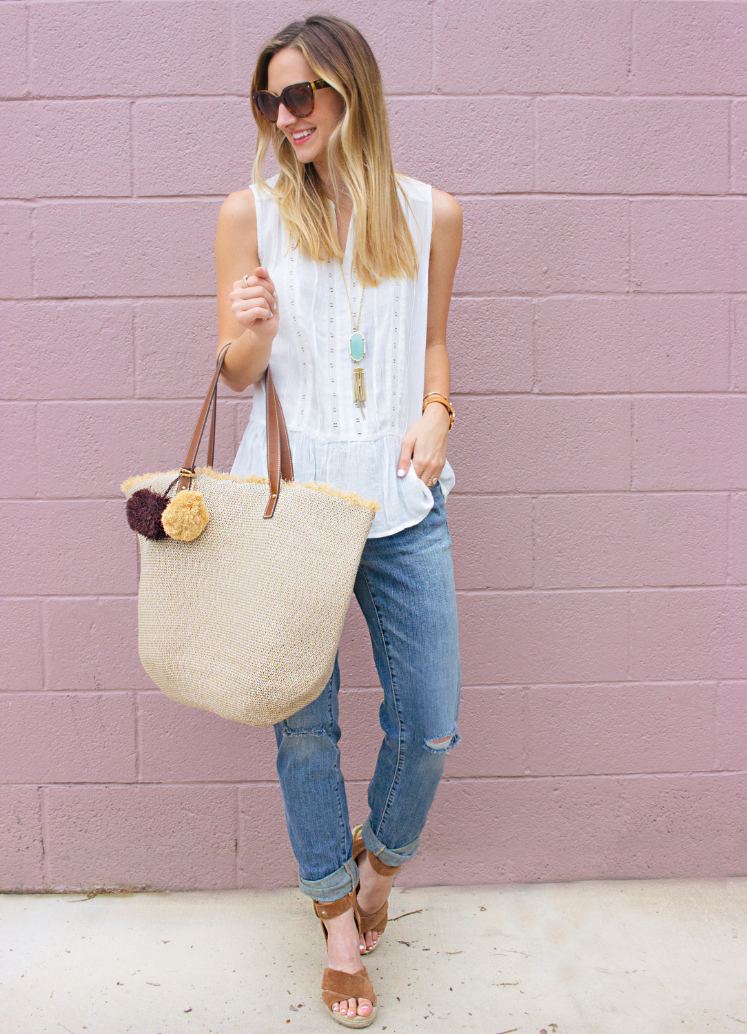 livvyland-blog-olivia-watson-caslon-nordstrom-boyfriend-jeans-white-eyelet-drop-waist-tank-top-beach-bag-tote-kendra-scott-rayne-necklace-prada-cateye-sunglasses-austin-texas-fashion-blogger-2