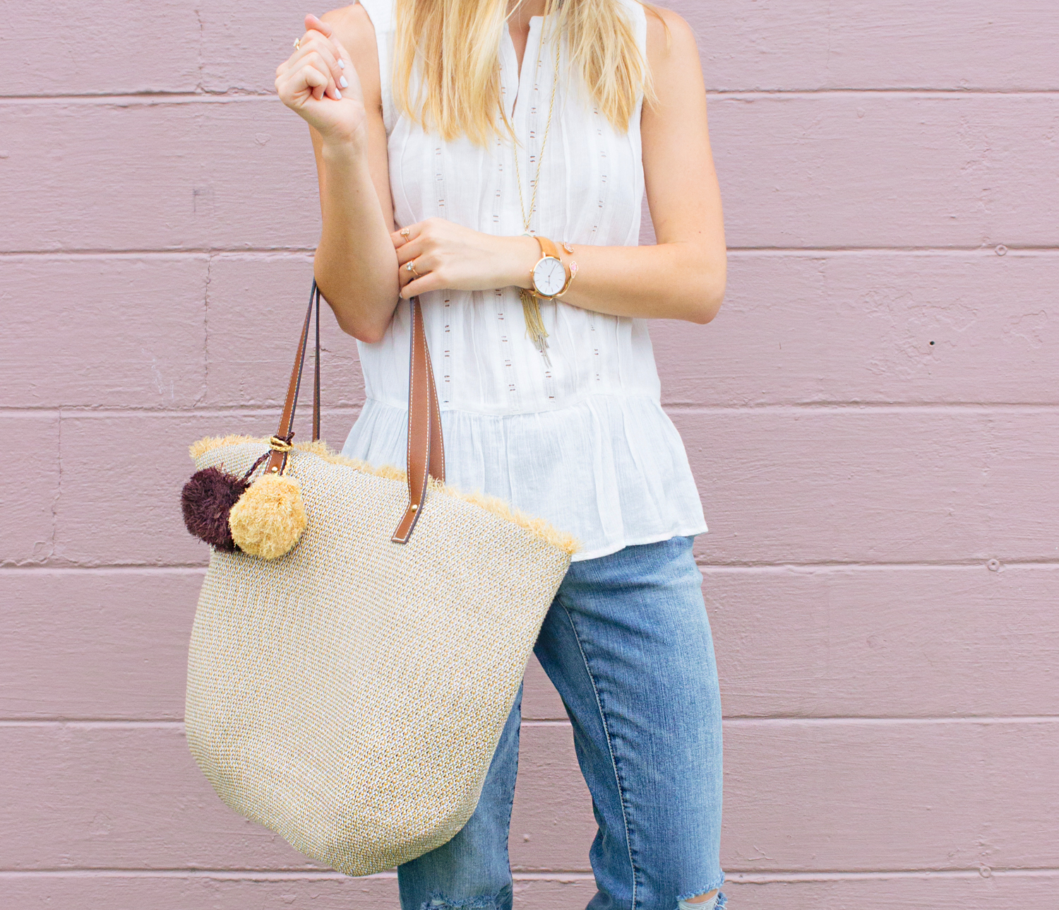 livvyland-blog-olivia-watson-caslon-nordstrom-boyfriend-jeans-white-eyelet-drop-waist-tank-top-beach-bag-tote-kendra-scott-rayne-necklace-prada-cateye-sunglasses-austin-texas-fashion-blogger-4