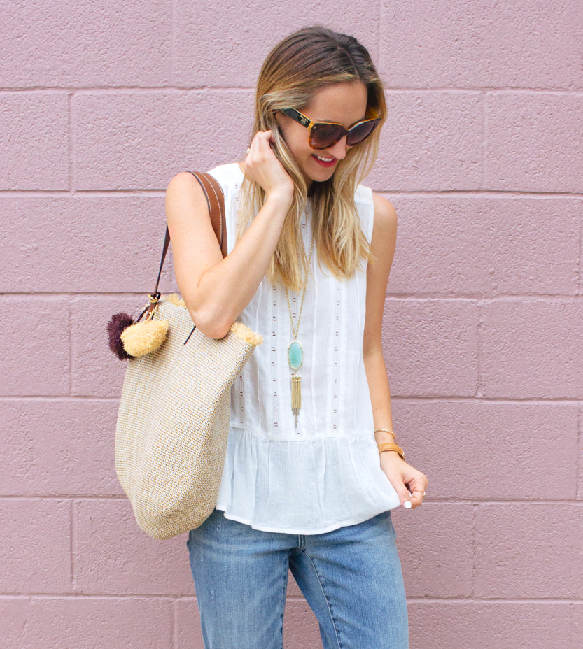 livvyland-blog-olivia-watson-caslon-nordstrom-boyfriend-jeans-white-eyelet-drop-waist-tank-top-beach-bag-tote-kendra-scott-rayne-necklace-prada-cateye-sunglasses-austin-texas-fashion-blogger-5