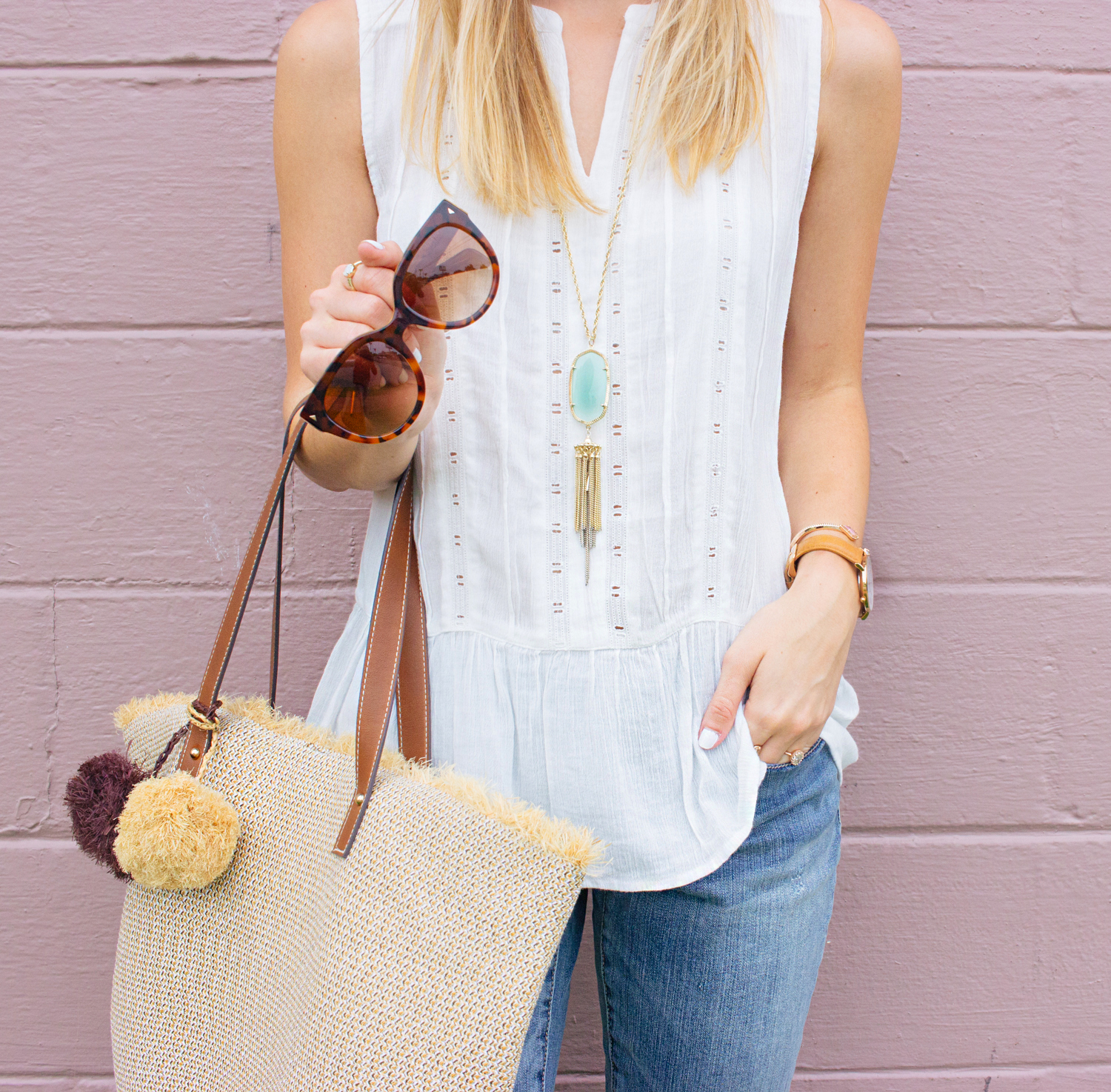 livvyland-blog-olivia-watson-caslon-nordstrom-boyfriend-jeans-white-eyelet-drop-waist-tank-top-beach-bag-tote-kendra-scott-rayne-necklace-prada-cateye-sunglasses-austin-texas-fashion-blogger-6