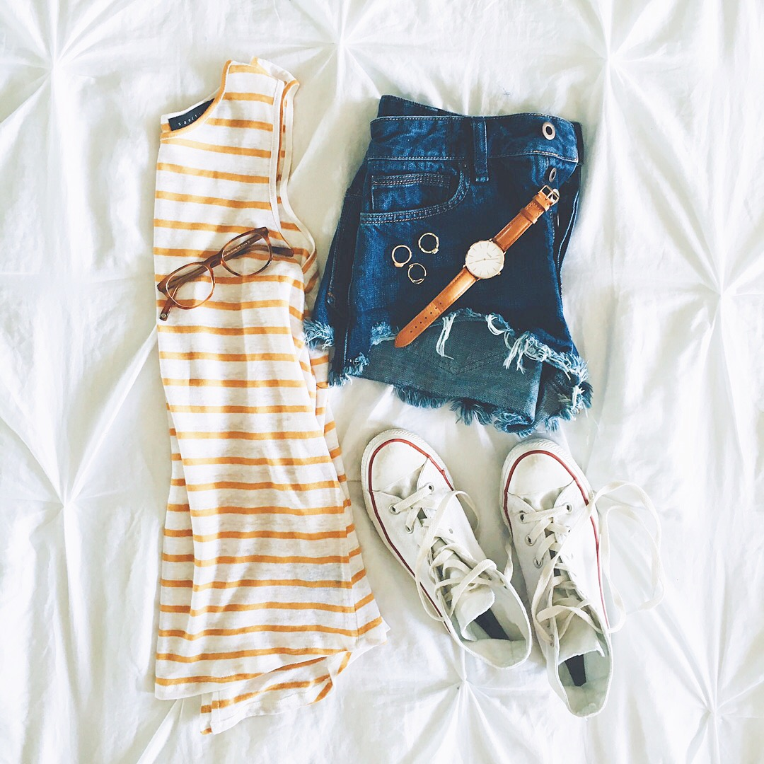 livvyland-blog-olivia-watson-austin-texas-fashion-blogger-cozy-comfy-outfit-summer-weekend-cute-striped-top-free-people-cutoff-shorts-chuck-taylor-converse-high-top-sneakers
