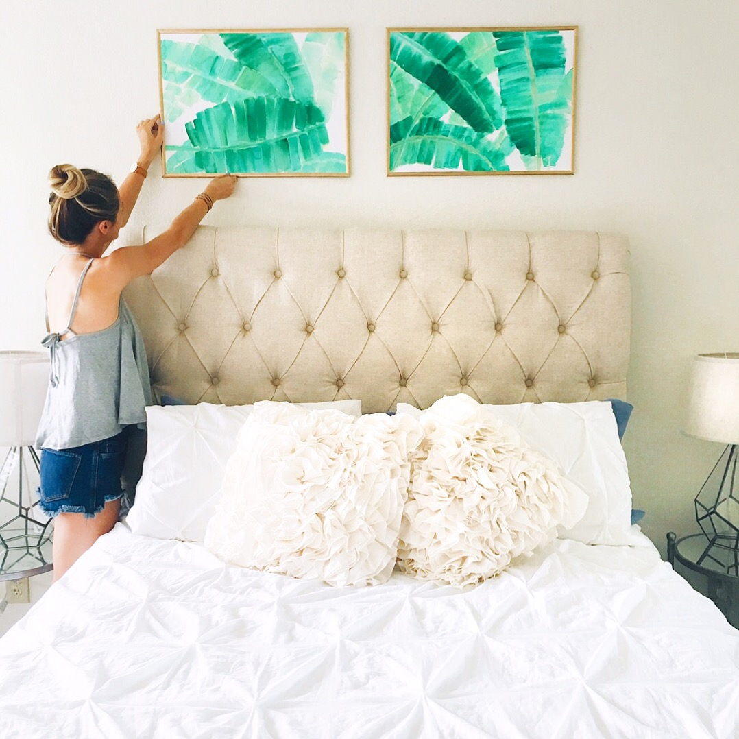 livvyland-blog-olivia-watson-austin-texas-fashion-blogger-kimberlee-watson-art-work-watercolor-palm-leaves-illustration-bedroom-inspiration-boho-pretty-girly-white