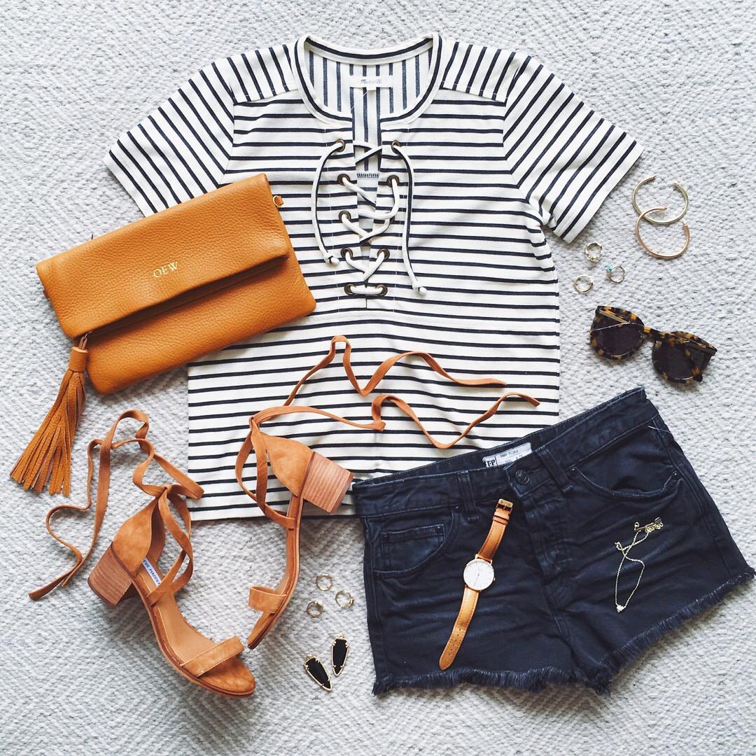livvyland-blog-olivia-watson-austin-texas-fashion-blogger-madewell-lace-front-striped-tee-shirt-free-people-cutoff-shorts-black-gigi-new-york-clutch-lace-up-heels