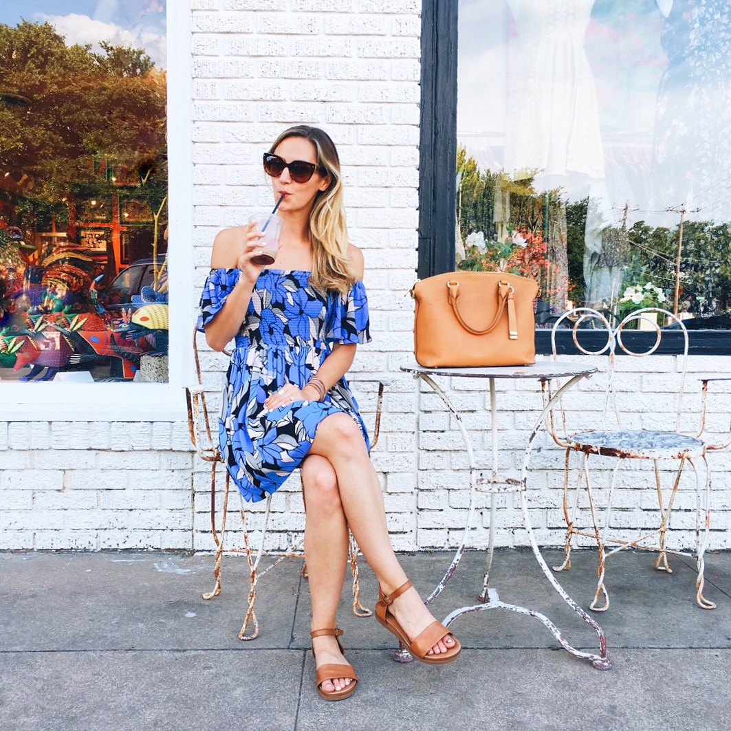 livvyland-blog-olivia-watson-austin-texas-fashion-blogger-off-shoulder-printed-dress-free-people-summer-blue-south-congress-gypsy-wagon