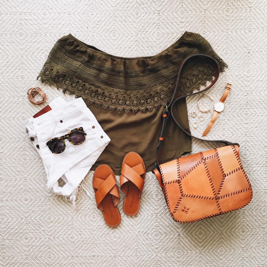 livvyland-blog-olivia-watson-austin-texas-fashion-blogger-olive-green-off-shoulder-top-patricia-nash-patchwork-handbag-one-teaspoon-shorts