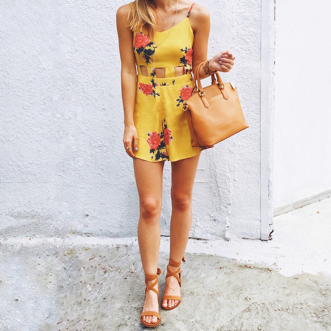 livvyland-blog-olivia-watson-austin-texas-fashion-blogger-yellow-floral-cutout-romper-lace-up-heels-brahmin-duxbury-handbag