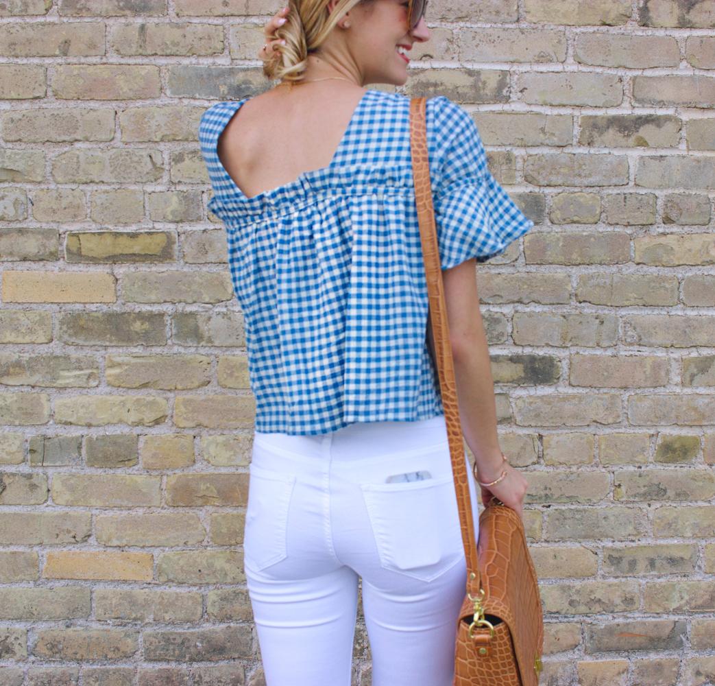livvyland-blog-olivia-watson-goodnight-macaroon-ruffle-blue-gingham-top-white-topshop-jamie-skinny-jeans-austin-texas-fashion-blogger-2