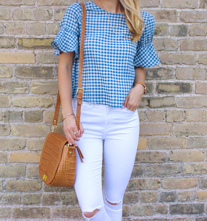 livvyland-blog-olivia-watson-goodnight-macaroon-ruffle-blue-gingham-top-white-topshop-jamie-skinny-jeans-austin-texas-fashion-blogger-3