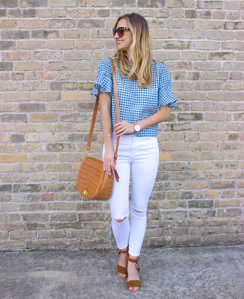 livvyland-blog-olivia-watson-goodnight-macaroon-ruffle-blue-gingham-top-white-topshop-jamie-skinny-jeans-austin-texas-fashion-blogger-4
