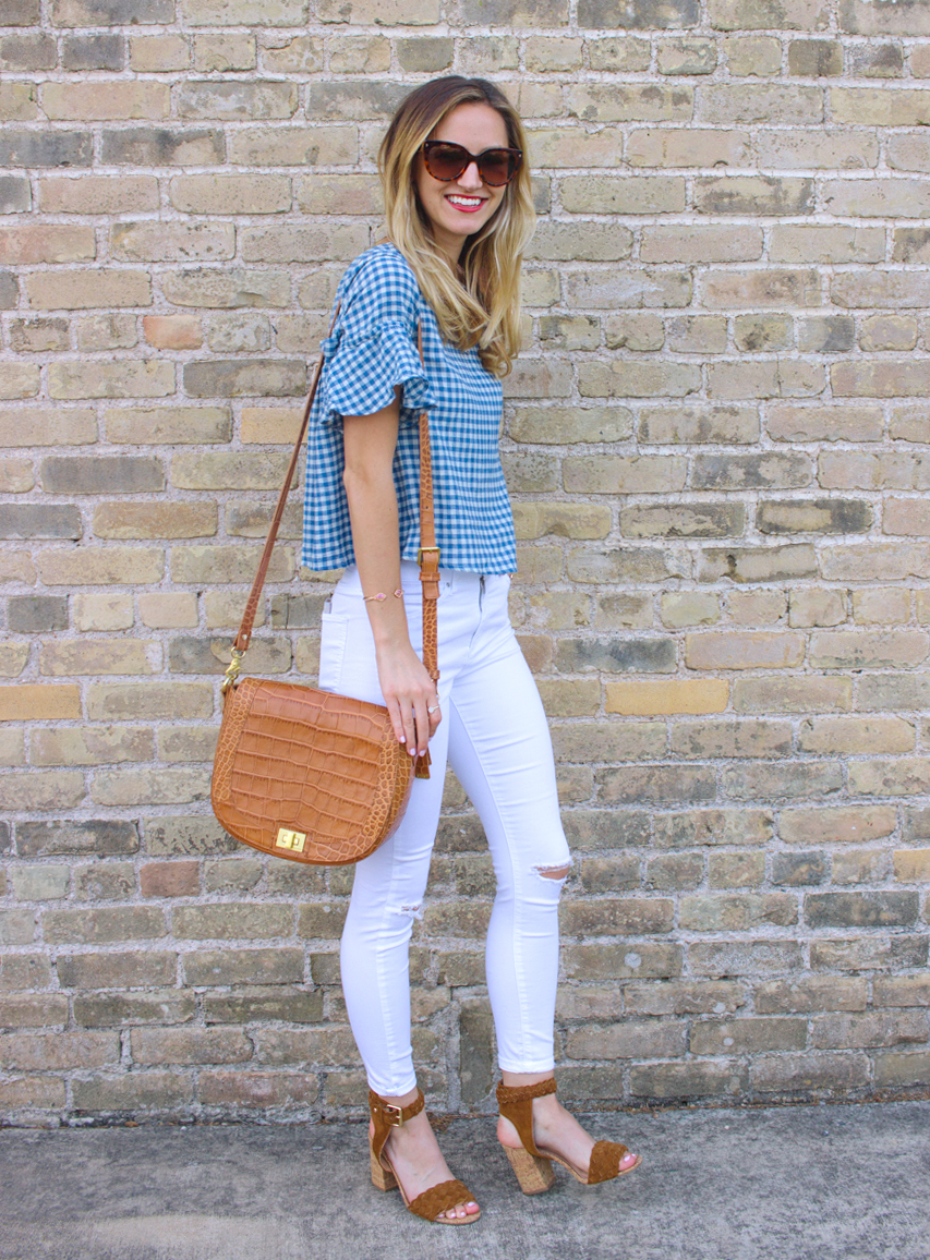 livvyland-blog-olivia-watson-goodnight-macaroon-ruffle-blue-gingham-top-white-topshop-jamie-skinny-jeans-austin-texas-fashion-blogger-5
