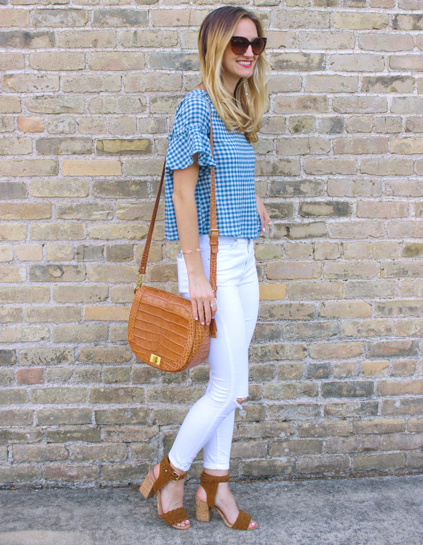 livvyland-blog-olivia-watson-goodnight-macaroon-ruffle-blue-gingham-top-white-topshop-jamie-skinny-jeans-austin-texas-fashion-blogger-6