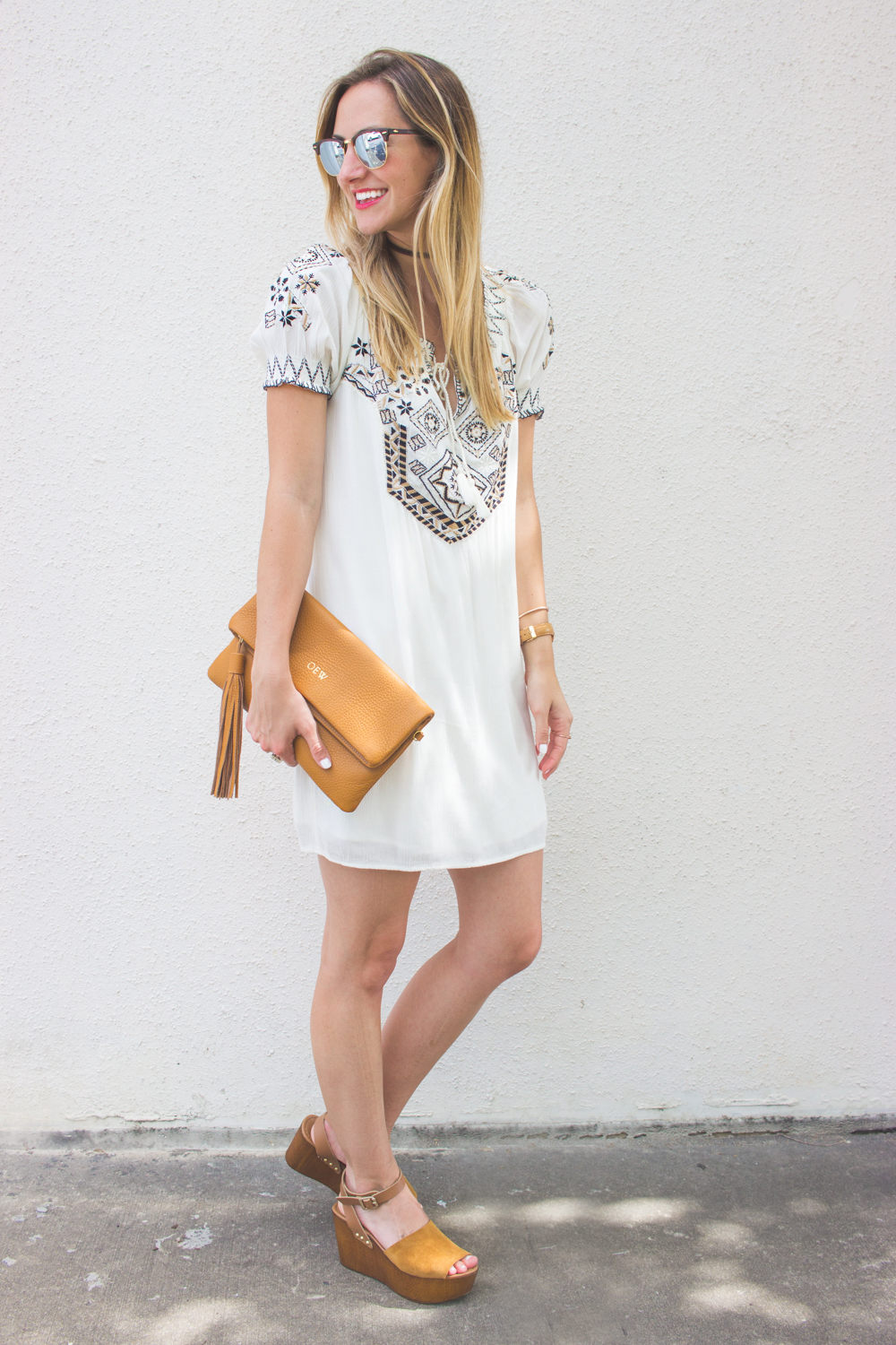 livvyland-blog-olivia-watson-austin-texas-fashion-blogger-abercrombie-and-fitch-embroidered-off-shoulder-dress-seychelles-platform-wedge-sandals-boho-outfit-ray-ban-reflective-clubmaster-summer-outfit-1