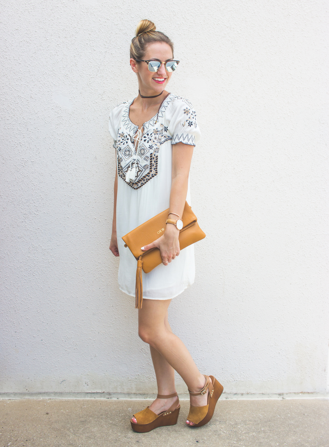 livvyland-blog-olivia-watson-austin-texas-fashion-blogger-abercrombie-and-fitch-embroidered-off-shoulder-dress-seychelles-platform-wedge-sandals-boho-outfit-ray-ban-reflective-clubmaster-summer-outfit-4