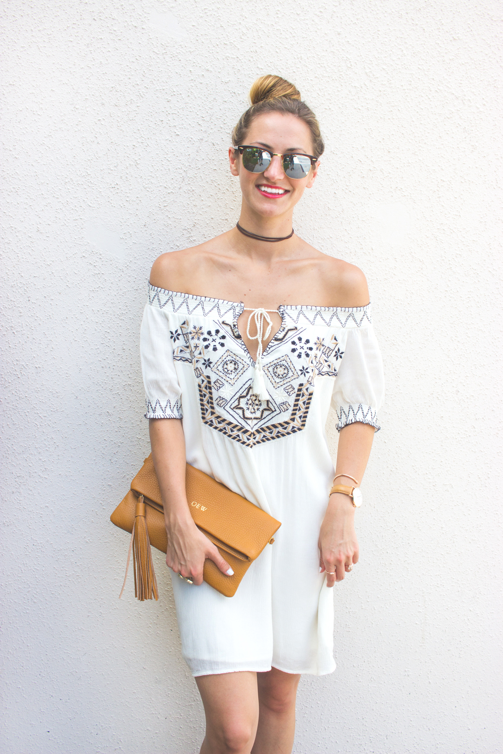 livvyland-blog-olivia-watson-austin-texas-fashion-blogger-abercrombie-and-fitch-embroidered-off-shoulder-dress-seychelles-platform-wedge-sandals-boho-outfit-ray-ban-reflective-clubmaster-summer-outfit-5