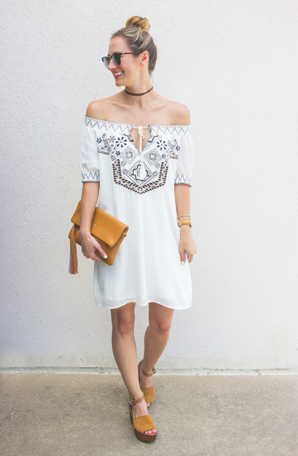 livvyland-blog-olivia-watson-austin-texas-fashion-blogger-abercrombie-and-fitch-embroidered-off-shoulder-dress-seychelles-platform-wedge-sandals-boho-outfit-ray-ban-reflective-clubmaster-summer-outfit-7