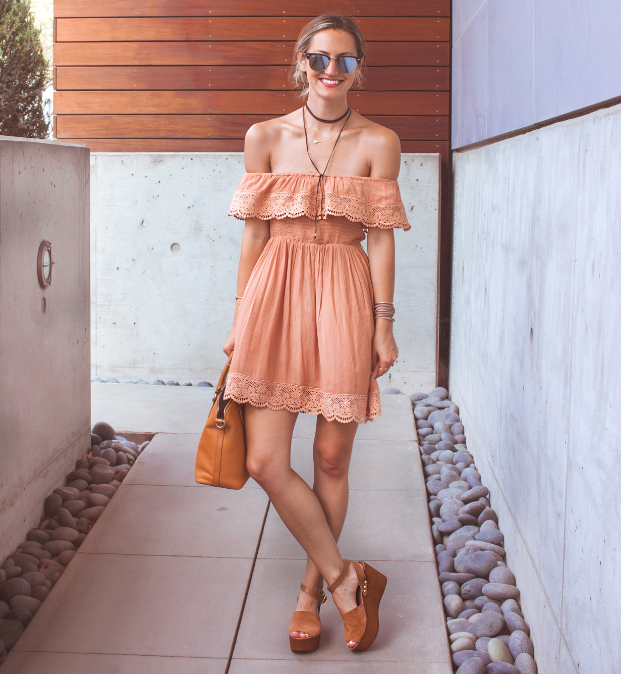 livvyland-blog-olivia-watson-austin-texas-fashion-lifestyle-blogger-peach-coral-lace-off-shoulder-dress-platform-wedges-summer-outfit-4