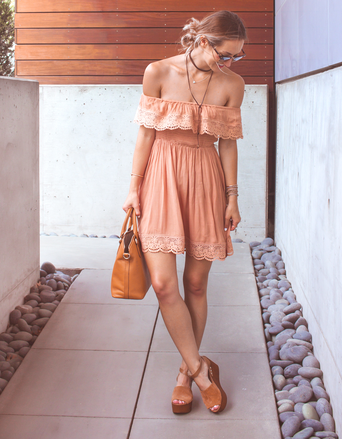 livvyland-blog-olivia-watson-austin-texas-fashion-lifestyle-blogger-peach-coral-lace-off-shoulder-dress-platform-wedges-summer-outfit-6