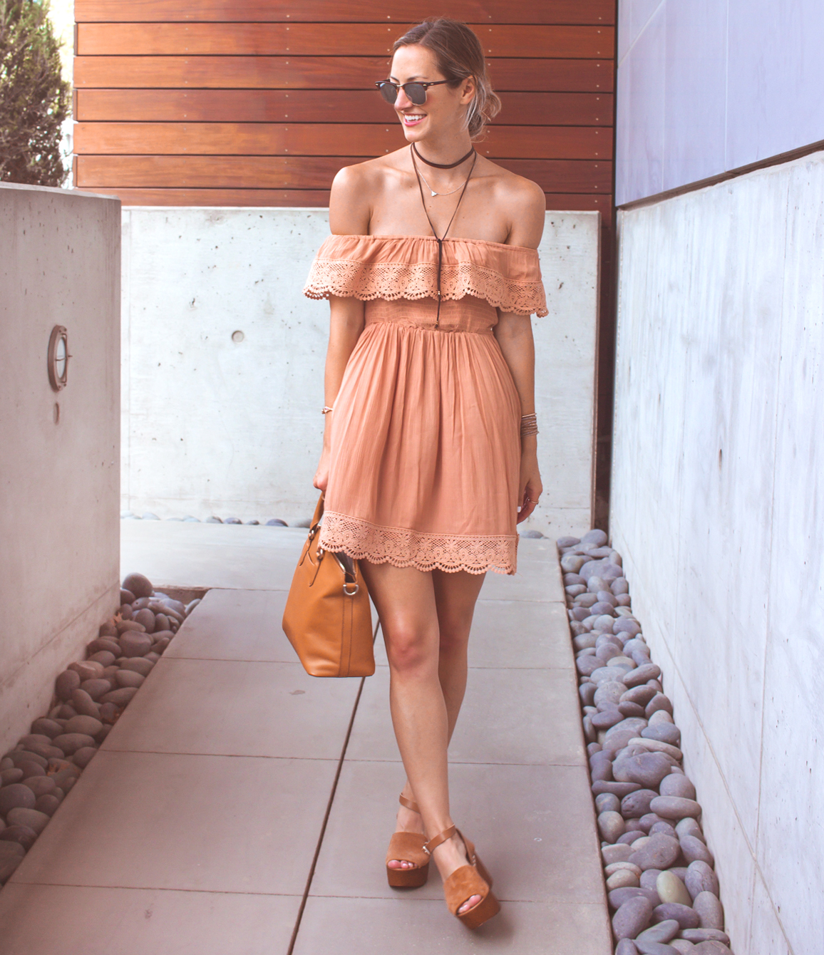 livvyland-blog-olivia-watson-austin-texas-fashion-lifestyle-blogger-peach-coral-lace-off-shoulder-dress-platform-wedges-summer-outfit-7