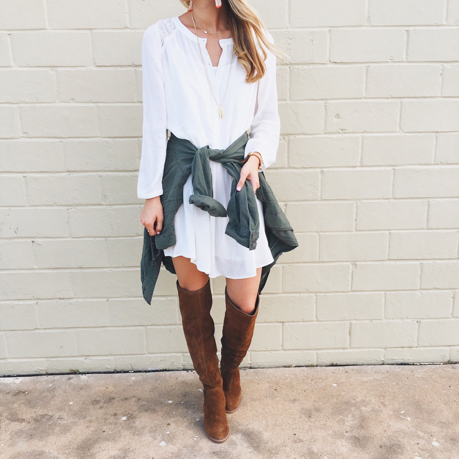 livvyland-blog-olivia-watson-nordstrom-anniversary-sale-hinge-drop-waist-white-dress-utility-jacket-over-the-knee-boots-fall-outfit