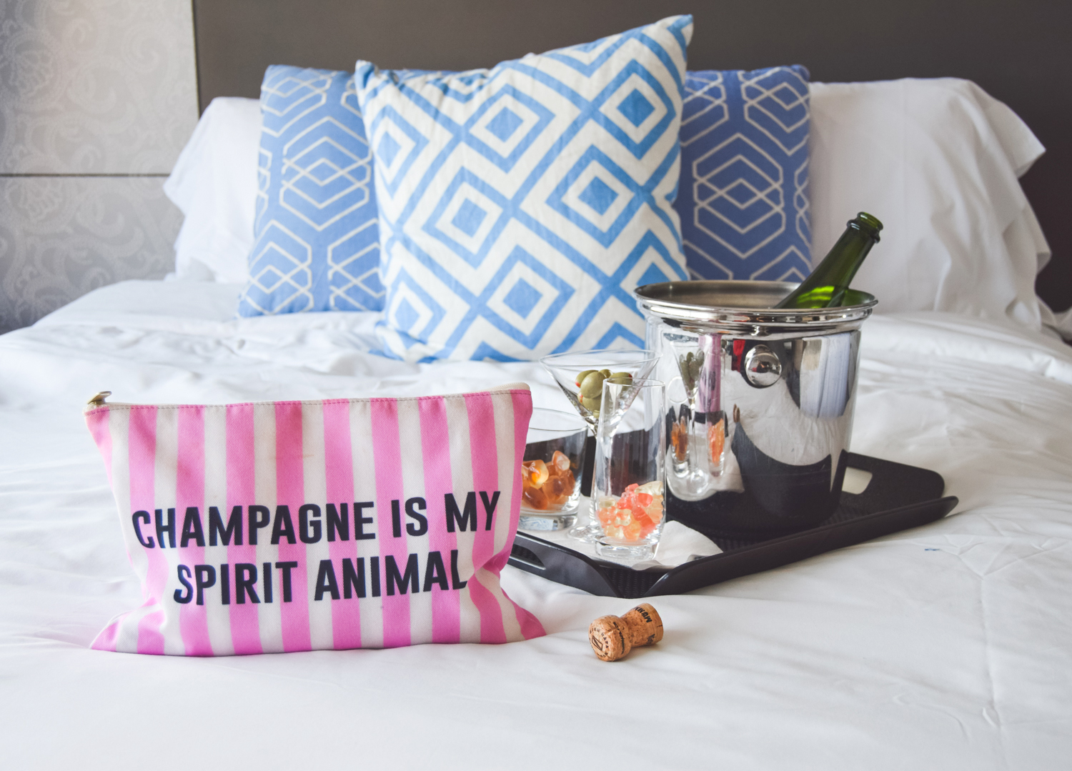 livvyland-blog-olivia-watson-vandi-fair-w-hotel-atx-staycation-stay-cation-austin-texas-fashion-travel-blogger-hotel-review-champagne-is-my-spirit-animal-makeup-bag