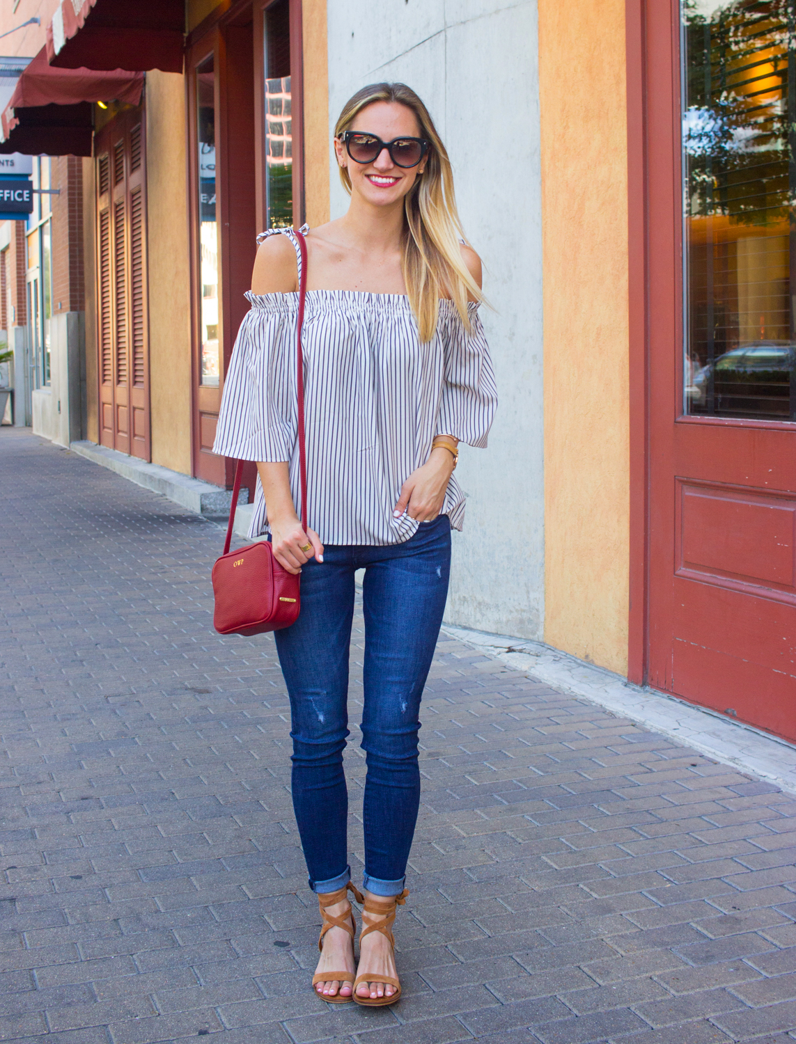 livvyland-blog-goodnight-macaroon-cold-shoulder-striped-top-austin-second-street-district-red-monogram-handbag-dl-1961-emma-jeans-3