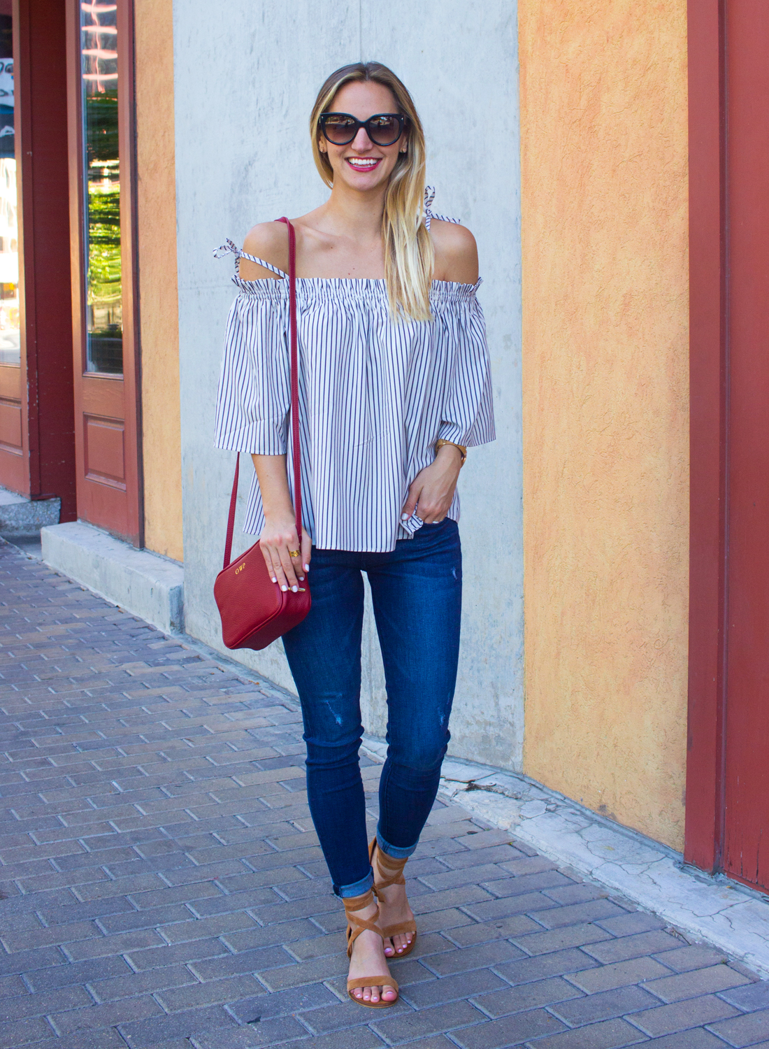 livvyland-blog-goodnight-macaroon-cold-shoulder-striped-top-austin-second-street-district-red-monogram-handbag-dl-1961-emma-jeans-4