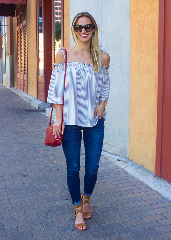 06605d11093 Striped Cold Shoulder Top - LivvyLand | Austin Fashion and Style Blogger