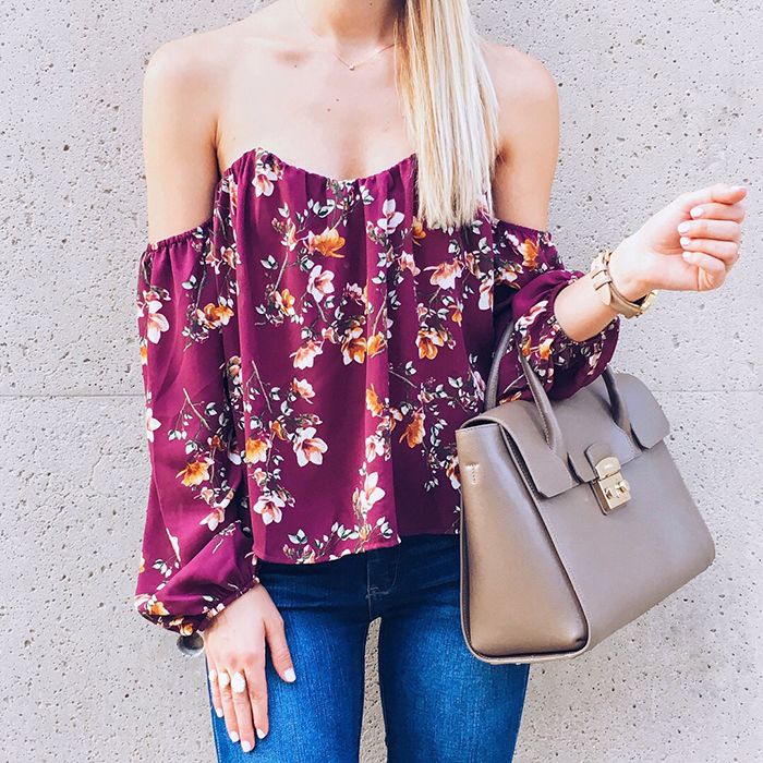 livvyland-blog-olivia-watson-austin-texas-fashion-blogger-4si3nna-floral-bustier-off-shoulder-top-furla-taupe-handbag-kendra-scott-naomi-drusy-double-ring
