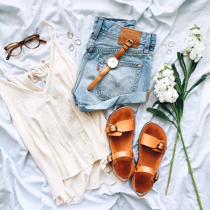 livvyland-blog-olivia-watson-austin-texas-fashion-blogger-flat-lay-boho-warby-parker-lyle-glasses-jerusalem-sandals-levis-cut-off-shorts-outfit