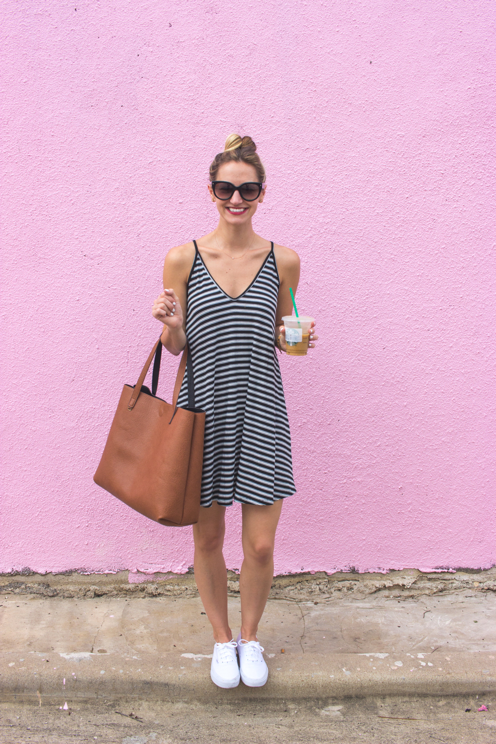 livvyland-blog-olivia-watson-austin-texas-fashion-blogger-pink-wall-coffee-run-summer-lace-up-back-striped-sun-dress-vans-sneakers-1