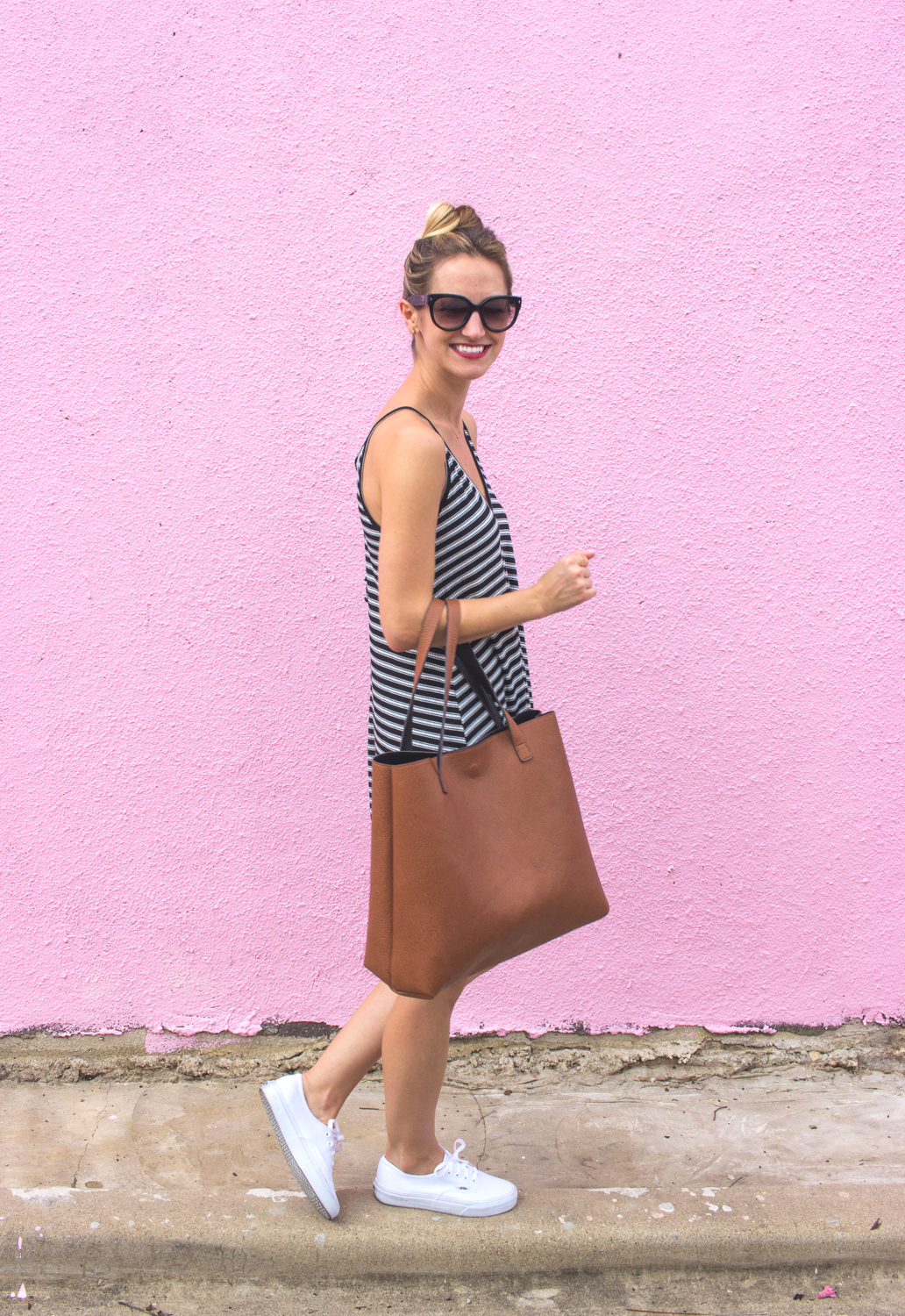 livvyland-blog-olivia-watson-austin-texas-fashion-blogger-pink-wall-coffee-run-summer-lace-up-back-striped-sun-dress-vans-sneakers-3