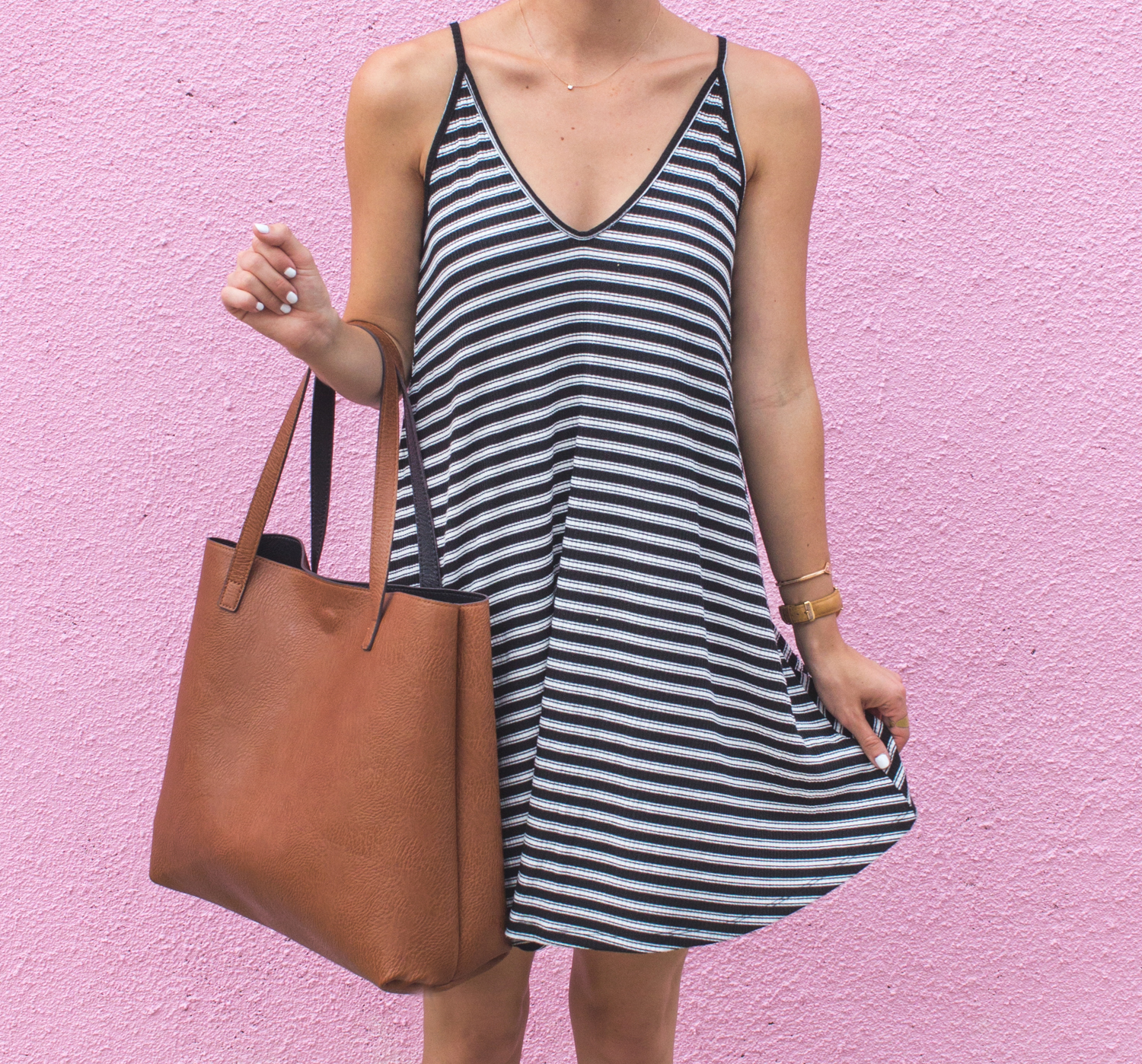 livvyland-blog-olivia-watson-austin-texas-fashion-blogger-pink-wall-coffee-run-summer-lace-up-back-striped-sun-dress-vans-sneakers-4