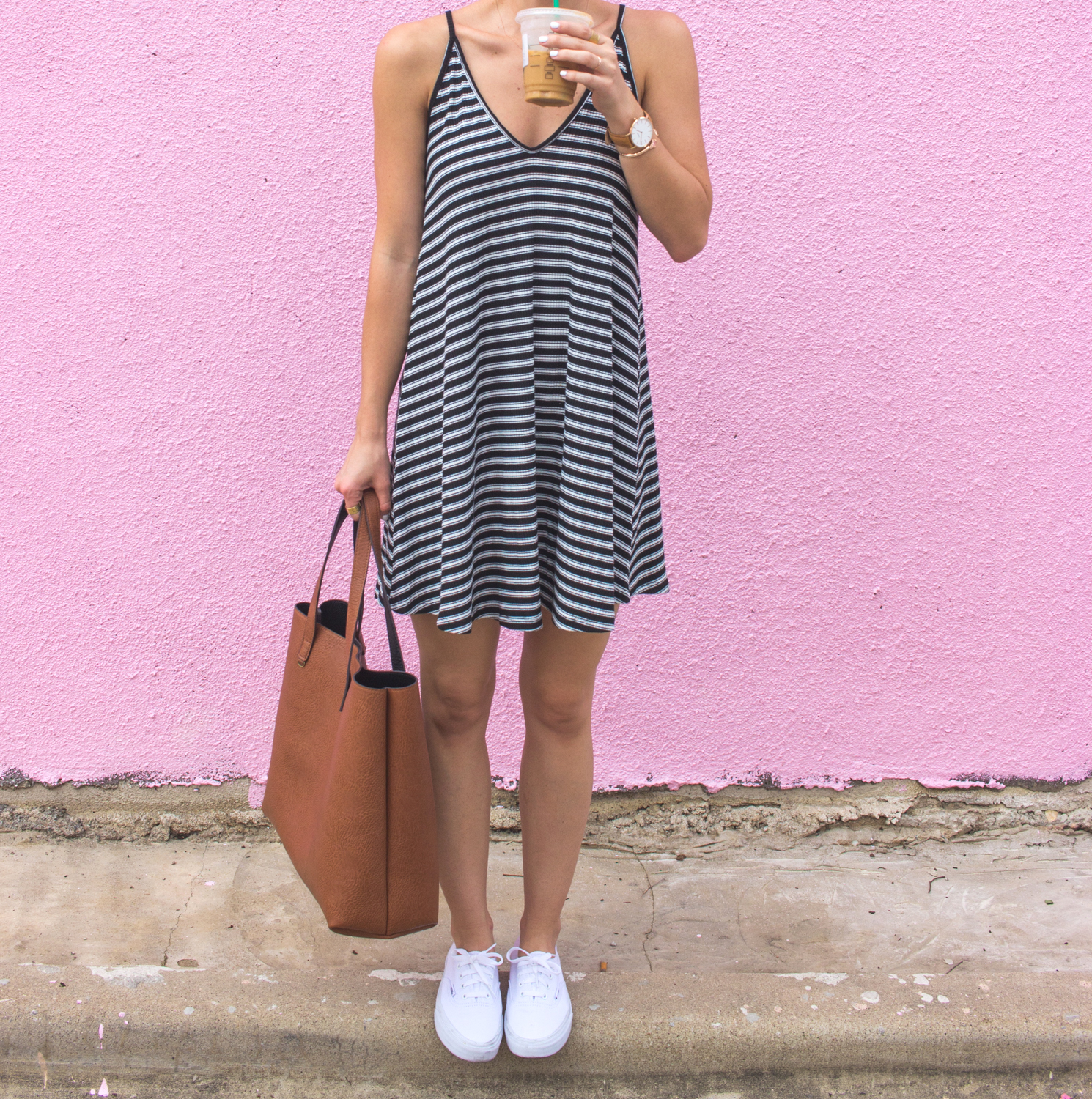 livvyland-blog-olivia-watson-austin-texas-fashion-blogger-pink-wall-coffee-run-summer-lace-up-back-striped-sun-dress-vans-sneakers-5