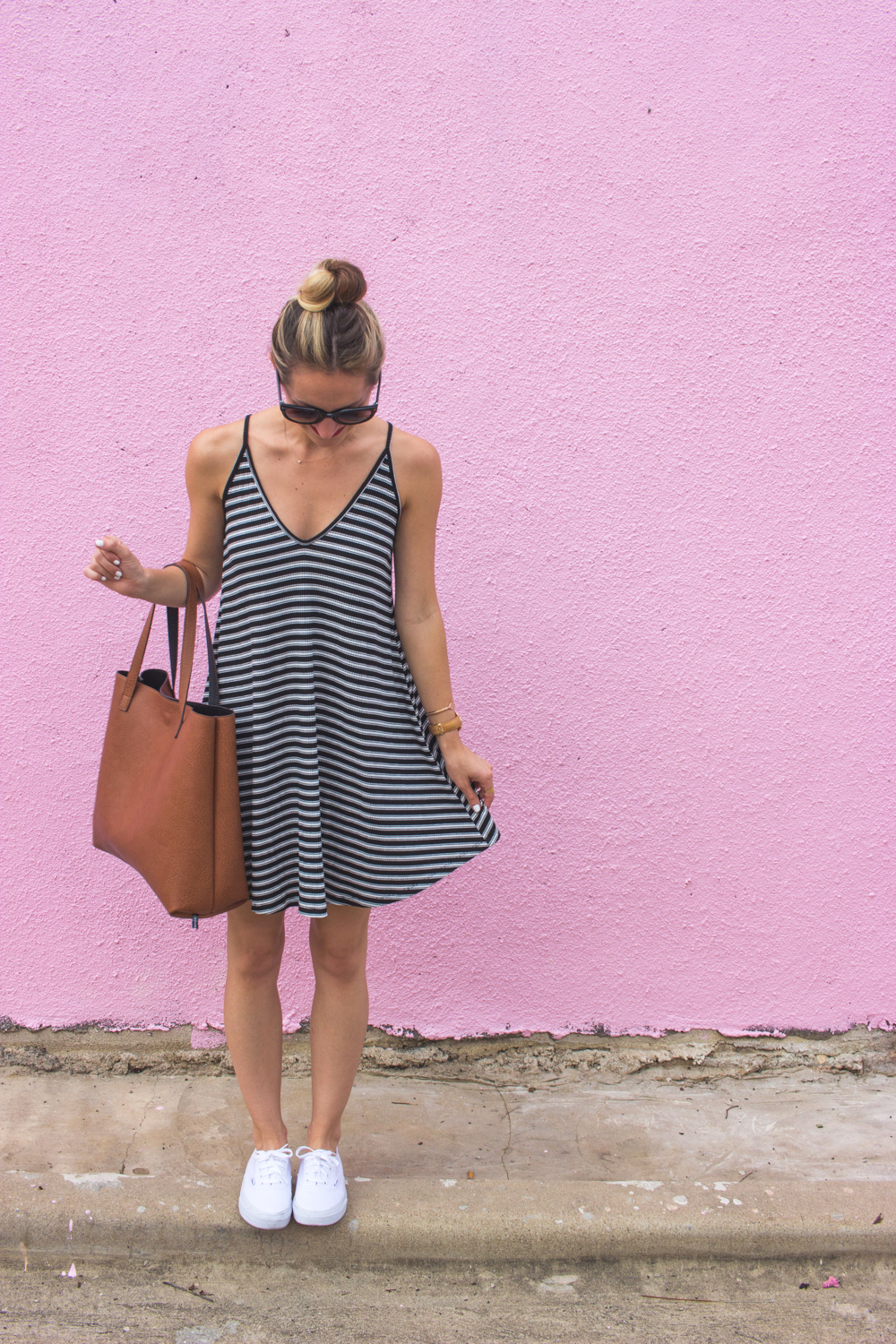 livvyland-blog-olivia-watson-austin-texas-fashion-blogger-pink-wall-coffee-run-summer-lace-up-back-striped-sun-dress-vans-sneakers-7