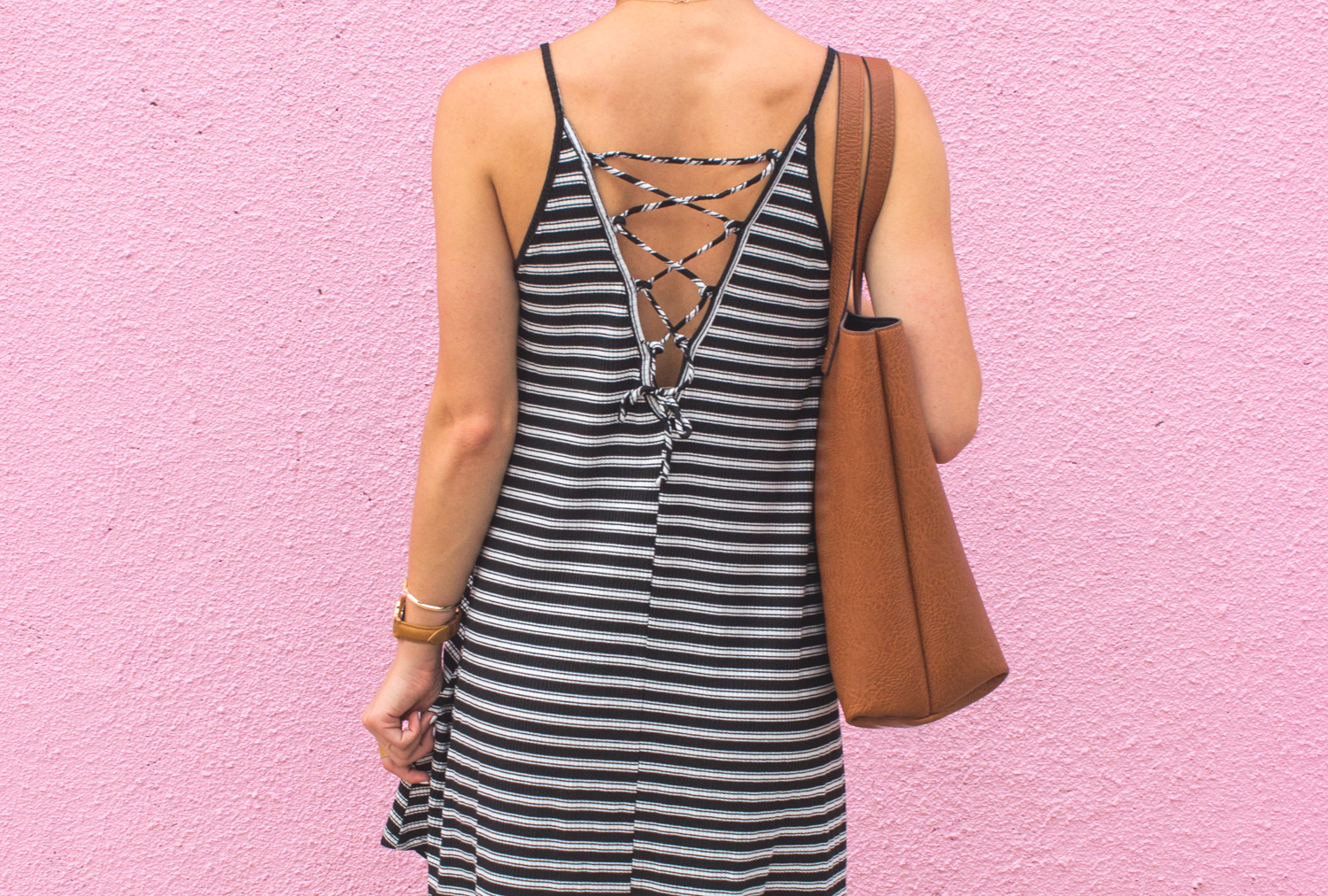 livvyland-blog-olivia-watson-austin-texas-fashion-blogger-pink-wall-coffee-run-summer-lace-up-back-striped-sun-dress-vans-sneakers-8