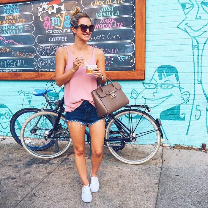 livvyland-blog-olivia-watson-instagram-roundup-september-fall-fashion-furla-taupe-handbag-topshop-blush-pink-tank-top-free-people-cutoff-denim-shorts-vans-sneakers-amys-ice-cream-south-congress