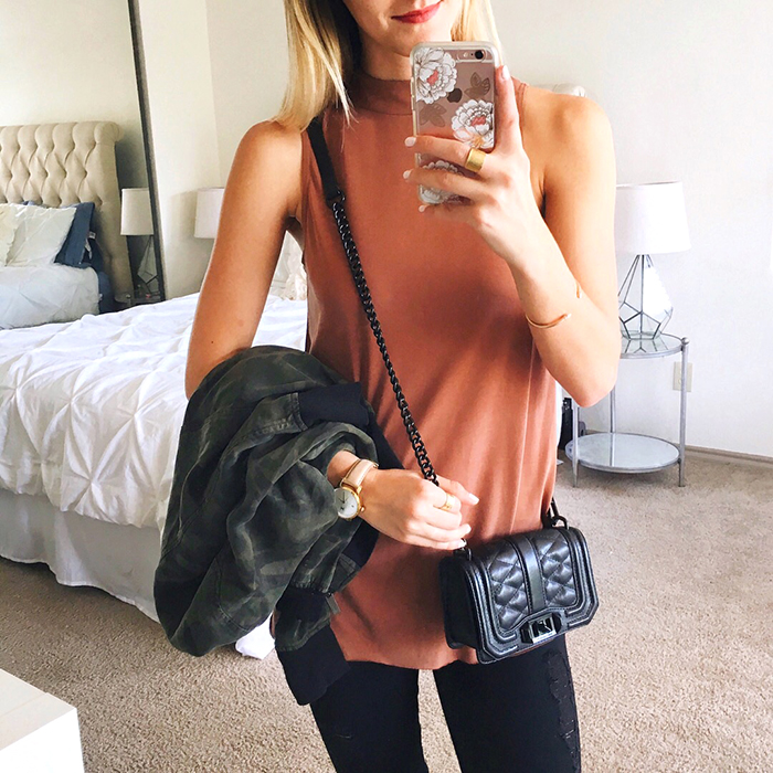 livvyland-blog-olivia-watson-instagram-roundup-september-fall-fashion-mock-neck-tank-top-burnt-orange-rebecca-minkoff-mini-love-crossbody-black
