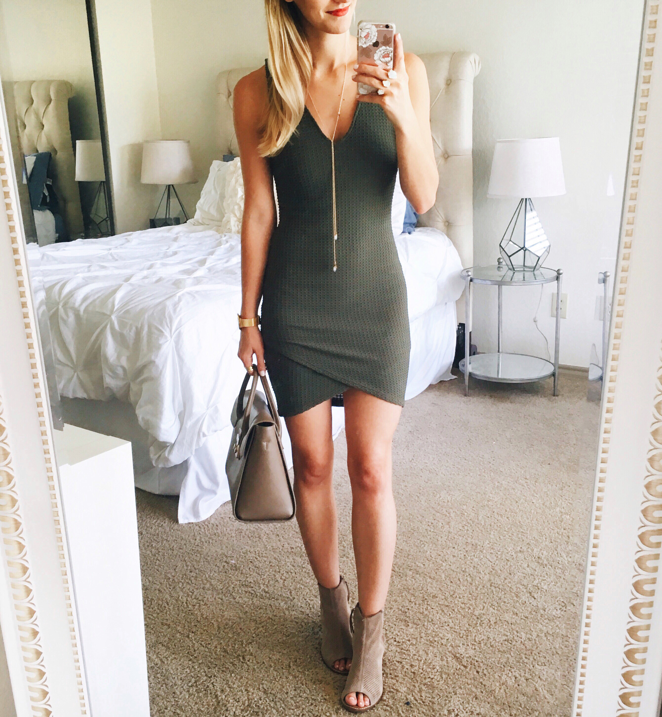 livvyland-blog-olivia-watson-instagram-roundup-september-fall-fashion-olive-green-body-con-dress-majorca-suede-booties-furla-handbag