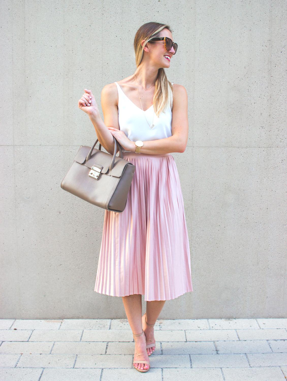 Blush Pink Pleated Midi Skirt - LivvyLand | Austin Fashion and ...