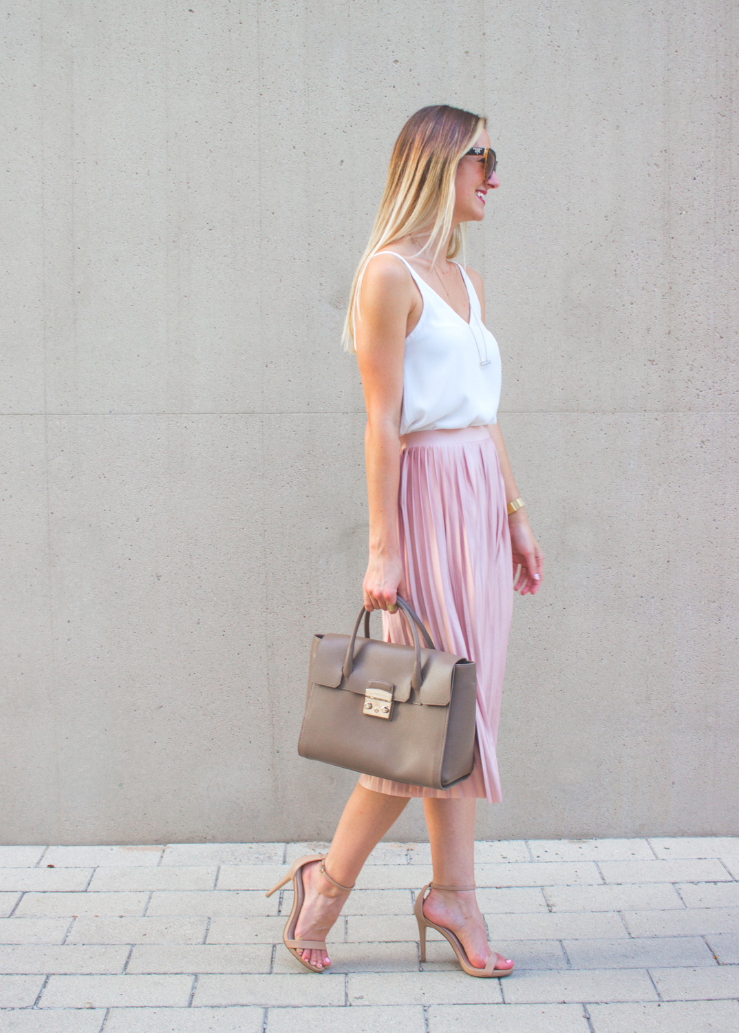 d9d61c48a Blush Pink Pleated Midi Skirt - LivvyLand | Austin Fashion and Style ...