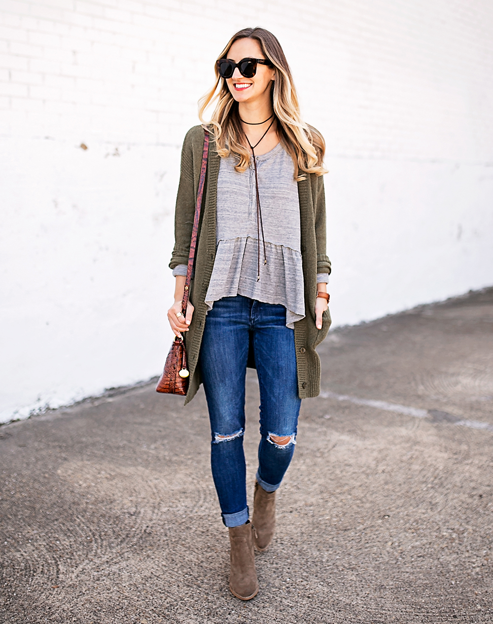 livvyland-blog-olivia-watson-peplum-thermal-tee-shirt-olive-cardigan-boho-outfit-casual-taupe-ankle-booties-fall-outfit-idea-celine-baby-marta-sunglasses-5